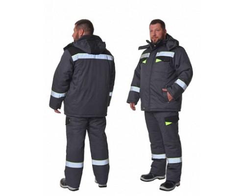 Костюм зимний КОРВЕТ СОП (тк.Орион-2, 250) брюки, т/серый/черный/лимон