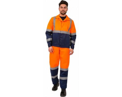 Костюм Дорожник с укороченной курткой (тк.Смесовая,210) п/к, оранжевый/т.синий