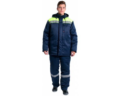 Куртка зимняя Эксперт-Люкс NEW (тк.Смесовая,210), т.синий/лимонный