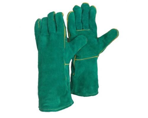 Краги спилковые зеленые с подкладкой (тип ТРЕК ЛЮКС)