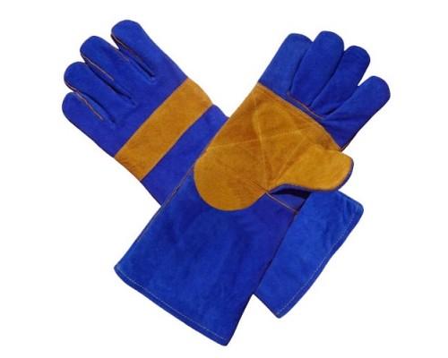 Краги спилковые синие с желтым усилением с подкладкой ЛЮКС