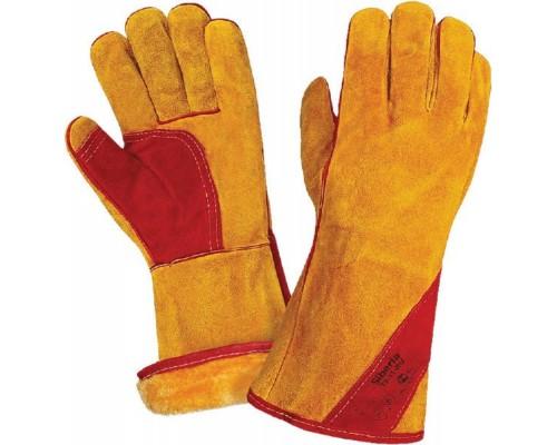 Краги спилковые утепл.(иск.мех) желтые с красным усилением нить Кевлар (тип СИБИРЬ)
