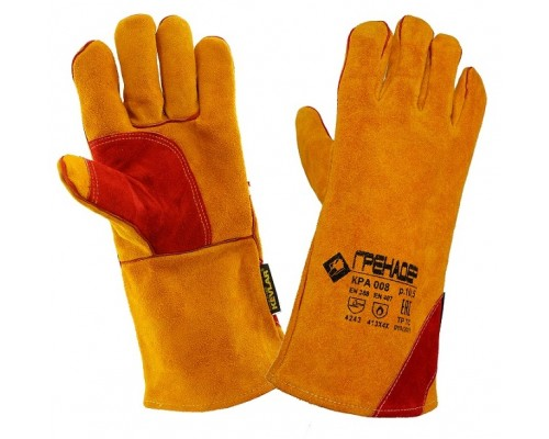 Краги спилковые ГРЕНАДЕР желтые с красным усилением с подкладкой нить Кевлар, КРА008