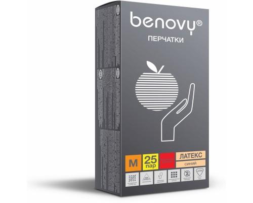 Перчатки BENOVY™ латексные неопудренные особопрочные удлиненные 13гр. (25 пар), синий