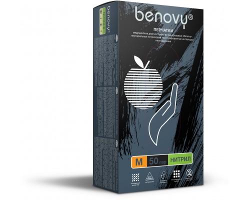Перчатки BENOVY™ нитриловые 3,5гр. (50 пар), черный