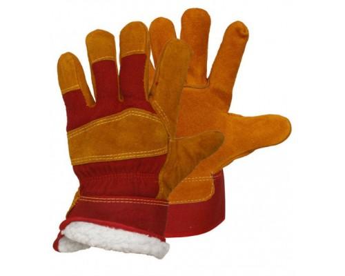 Перчатки спилковые комбинированные утепл.(иск.мех) желтые с красным (тип РУССКИЕ ЛЬВЫ)