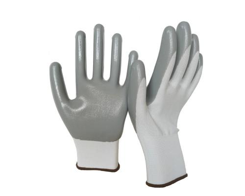 Перчатки нейлоновые с нитриловым покрытием, бело-серые