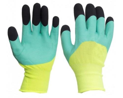Перчатки нейлоновые со вспененным двойным латексным покрытием, желто-зеленые