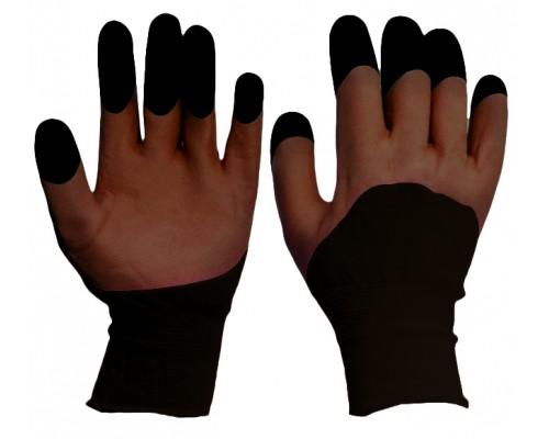 Перчатки нейлоновые со вспененным двойным латексным покрытием, коричневые