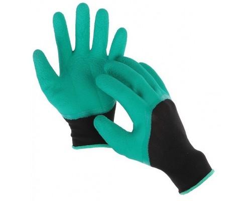 Перчатки нейлоновые со вспененным латексным покрытием, черно-зеленые
