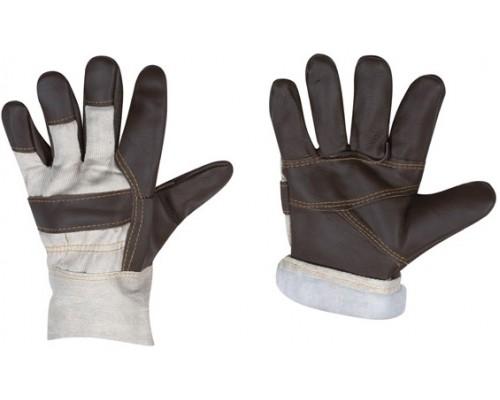 Перчатки кожаные комбинированные утепл.(синтепон)
