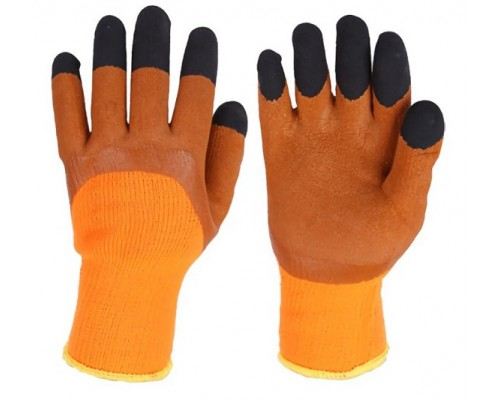 Перчатки утепл. акриловые со вспененным латексным покрытием, оранжево-коричневые