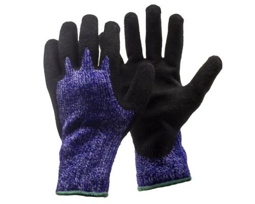 Перчатки утепл. акриловые со вспененным латексным покрытием, сине-черные