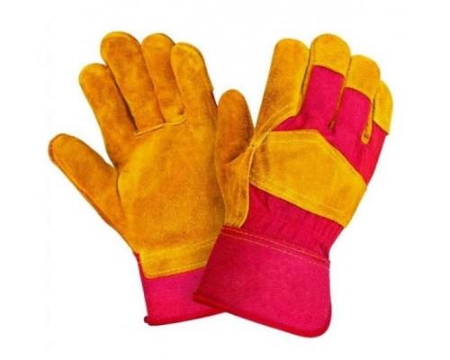 Перчатки спилковые комбинированные желтые с красным (тип РУССКИЕ ЛЬВЫ)
