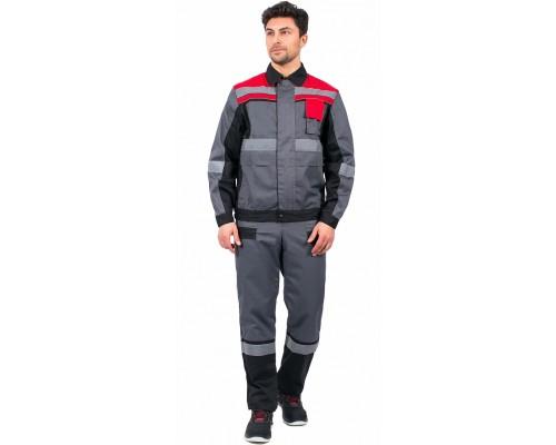 Костюм Виват-1 Премиум (тк.Смесовая,240) брюки, серый/черный/красный